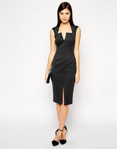 Enlarge ASOS Bonded Pencil Dress with Split Front