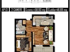 Auchan Militari, Apartament 2 camere, 49mp Floor Plans, Floor Plan Drawing, House Floor Plans