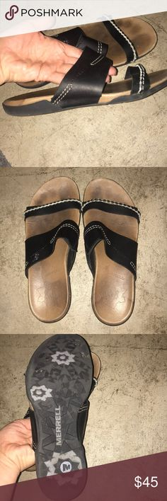 Merrell leather black sandal size 9M Merrell Leather sandal Lots of  traction on the bottom Previously loved White and black braiding on top  very cute Easy ...
