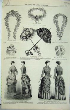 1882 Womens Fashion Dress Parasol