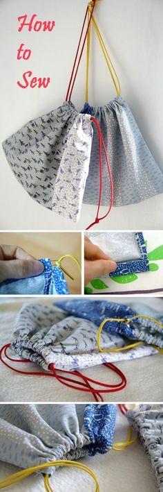 Cute DIY Drawstring Bag Tutorial   http://www.free-tutorial.net/2016/12/cute-diy-drawstring-bag-tutorial.html