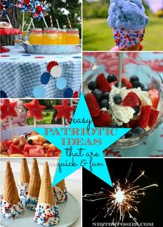 Easy Patriotic Ideas that are quick & fun for the whole family! Watermelon Stars, How to shoot fireworks, Make Patriotic Ice Cream Cones + more! via Nest of Posies