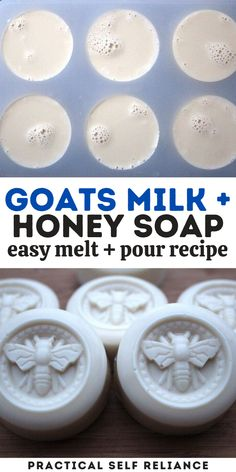 Goats milk and honey soap is a beautiful handmade gift to make or receive.  By using a goats milk melt and pour soap base, you can skip the risk of dealing with lye and the hassle of milking a goat.  The resulting soap is still handcrafted with love right in your home kitchen, and the shape, add-ins, and scents are all your own. Soap Melt And Pour, Honey Soap, Homemade Soap Recipes, Lotion Bars, Goat Milk Soap, Milk And Honey, Cold Process Soap, Home Made Soap, Soap Making