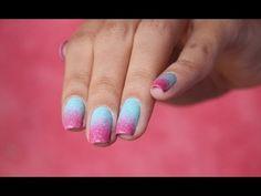 ▶ Unha Degradê - Rosa e Azul - por Luiza Gomes - YouTube