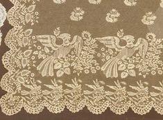 NEEDLERUN LACE VEIL W/ BIRDS, 1820-1830s