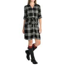 Spense Knits Mandarin Collar Shirt Dress - 3/4 Sleeve (For Women) in Black/White…