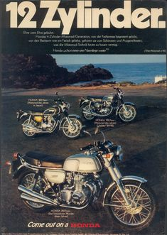 1973_HONDA CB750Four K2 + CB500Four + CB350Four advertisement.GERMANY_01