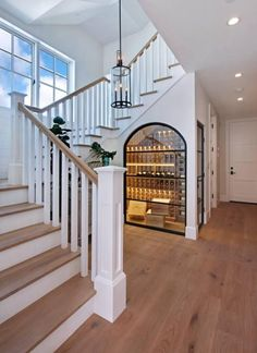 Relaxed California Beach House with Coastal Interiors Foyer. Relaxed California Beach House with Coastal Interiors Foyer. Foyer Staircase, Staircase Design, Staircase Storage, Under Stair Storage, Narrow Staircase, Open Stairs, Staircase Remodel, Spiral Staircases, Floating Stairs