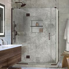 DreamLine Unidoor-X H x to W Frameless Hinged Oil Rubbed Bronze Shower Door (Clear Glass) at Lowe's. The DreamLine Unidoor-X is a frameless shower door, tub door or enclosure that features a luxurious modern design, complementing the architectural Frameless Shower Enclosures, Frameless Shower Doors, Basement Bathroom, Small Bathroom, Bathroom Ideas, Remodled Bathrooms, Master Bathroom, Shower Ideas, Stone Bathroom