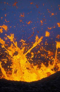 Fountaining lava of Kilauea volcano vent eruption.