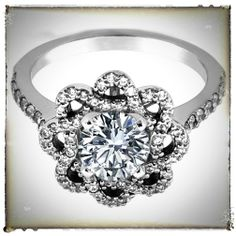 Floral Halo Diamond Engagement Ring  Gorgeous and original design