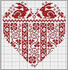 gazette94 - Free cross stitch pattern - rabbits in a heart with Fair Isle pattern