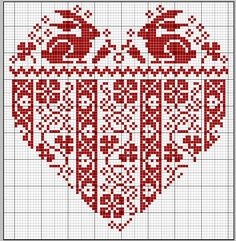 gazette94 - Free cross stitch pattern - rabbits in a heart with Fair Isle pattern