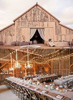 Love..Love..Love twinkle lights. Great idea for the barn doors!