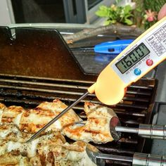 """Thanks to our #CertifiedGrillLover @danferdinande for sending this photo with our Premium Instant Read Cooking Thermometer and doing a short review on his page """" Chicken skewers on the #webergenesis Checked for proper temp using my grill lovers premium instant read thermometer with long probe, it's fast and accurate and has a temp chart right on the cover.  A great buy on Amazon.  Get yours now and jump online at Amazon.com. Link is in the bio ☝☝☝"""