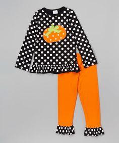 Look at this #zulilyfind! Black & Orange Pumpkin Ruffle Pants Set - Infant, Toddler & Girls #zulilyfinds