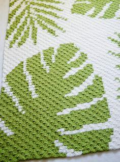 Crochet C2c Pattern, C2c Crochet Blanket, Tapestry Crochet Patterns, Crochet Bedspread, Free Crochet, Crochet Blankets, Corner To Corner Crochet Pattern, Crochet Instructions, Tropical Leaves