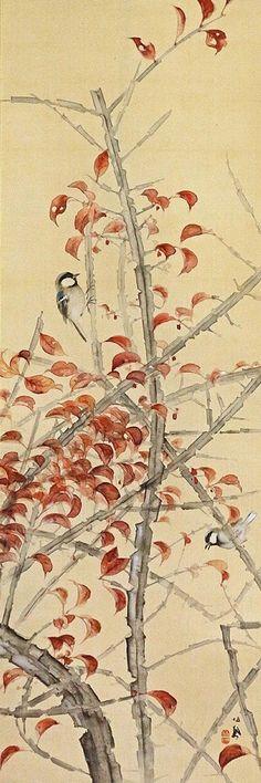 Takeuchi Seiho 竹内栖鳳 (1864-1942), Euonymus with Sparrows.