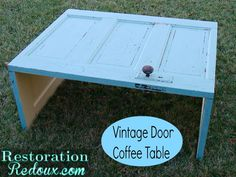 DIY Ideas | Furniture | Check out this tutorial for turning an old door into a coffee table!