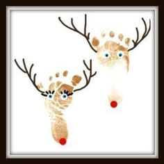 Baby feet made into reindeer Christmas Projects, Holiday Crafts, Christmas Time, Xmas, Christmas Ideas, Toddler Art, Toddler Crafts, Winter Crafts For Toddlers, Footprint Crafts