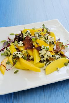 Mango, toby's biltong blue cheese braai salad. Toby's Biltong is a very popular South African snack. It's sort of like beef jerky, but much tastier. You can use grated biltong on sandwiches, pizza, soups, baked potatoes, salads - on anything really! 1) Get dry sliced biltong 2) Put in blender 3) You've got grated biltong! So easy to make and DELICIOUS!