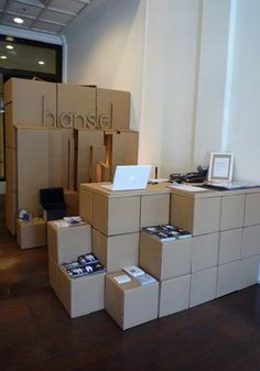 "Hansel Pop Up Store. Couldn't be a simpler pop-up shop design idea! The easiest answer ever for the question : ""how to decorate a pop-up shop?"" or "" how to easily handle pop-up shop storage and decor?!"" PopUp Republic"