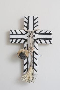 Island Cross by Jai Vasicek Cross Wall Decor, Crosses Decor, Wall Crosses, Clay Cross, Cross Art, Boho Diy, Boho Decor, Modern Boho, Arts And Crafts
