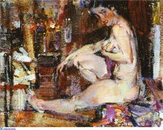 View SEATED FEMALE NUDE By Nicolai Fechin; oil on canvas; 16 x 20 in. x Signed; Access more artwork lots and estimated & realized auction prices on MutualArt. Santa Monica, Nicolai Fechin, Russian American, Esoteric Art, Soviet Art, Impressionist Paintings, Oil Paintings, First Art, Painting & Drawing
