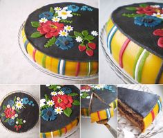 Awesome cake decorated with decorations in the style of folk skirt from Muhu island