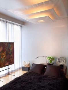 Diy Bedroom Lighting Decor: Canvas Ceiling Light Cover For The Hideous Hospital-like Ceiling Light Covers, Ceiling Lights, Florescent Light Cover, Luminaria Diy, Diy Lampe, Bedroom Lighting, Ceiling Fixtures, My New Room, Rental Apartments