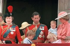 June 15, 1985: Princess Harry with the Royal Family watched the Trooping the Colour fly-past on the balcony of Buckingham Palace. This was Prince Harry's first appearance at the balcony. Adults (l-r): The Duke of Edinburgh, The Queen, Princess Anne, Prince of Wales and the Princess of Wales (carrying Prince Harry). Children (l-r): Lord Frederick Windsor, Prince William, Lady Davina and Lady Rose Windsor and Zara Phillips.