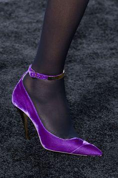 Balmain at Paris Fashion Week Fall 2015 - Details Runway Photos Fab Shoes, Unique Shoes, Shoes Heels, Purple Accessories, Runway Shoes, High Sandals, Velvet Shoes, Shoe Art, Purple Fashion