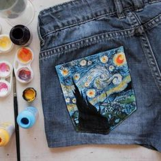 The Starry Night Vincent van Gogh inspired shorts // I would LOVE this on my blue jeans.