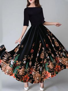 Round Neck Floral Printed Maxi Dress woman fashion edgy,woman fashion classy,woman fashion for summer,woman fashion over fashion outfits, Maxi Outfits, Cheap Maxi Dresses, Day Dresses, Cute Dresses, Bridal Mehndi Dresses, Winter Wedding Outfits, Medieval Dress, Dress Silhouette, Types Of Dresses