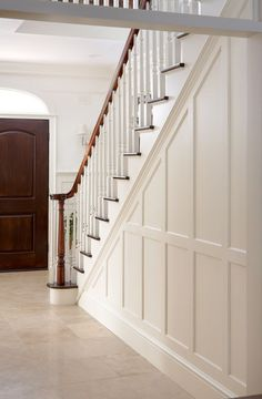 Marvelous Tips: Wainscoting Living Room Home full wall wainscoting ideas.Wainscoting Stairwell Railings wainscoting living room home.Wainscoting Living Room Home. Wainscoting Stairs, Painted Wainscoting, Wainscoting Ideas, Wainscoting Bathroom, Beadboard Wainscoting, Painted Panelling, Stair Paneling, Stair Walls, Entry Stairs