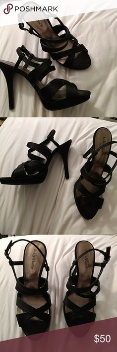 Kelly and kate heels OPEN TO OFFERS  Black Kelly and Katie heels with straps around the ankles  Very comfortable worn once for wedding Excellent Condition   PET FREE SMOKE FREE HOME Kelly & Katie Shoes Heels