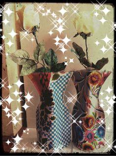 Bloemen vaasjes van tafelzeil