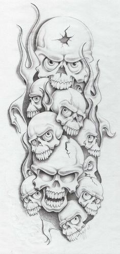 skull sesson by markfellows on deviantART Tattoo Design Drawings, Skull Tattoo Design, Skull Design, Skull Drawings, Tattoo Designs, Evil Skull Tattoo, Skull Tattoos, Body Art Tattoos, Evil Clown Tattoos