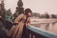 YSL, Manteau de lamé en or brodé de jais et gansé de vison, Pont Alexandre III, Haute Couture F/W 1976, Vogue US. By Duane Michals