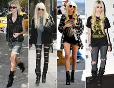 Taylor Momsen is absolutly stunning in pretty much everything she wears. And the rocker girl looks is really going for her! She can edge up anything really, whether its a pink skirt or a floral dress -which she did, by adding a leather jacket and her brilliant eye make up. I really need to find out where she shops.