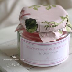 Topped with luxurious printed floral paper and finished with a personalised label, the jar is filled with a scented candle. Ideal for a summer wedding when a special and different gift is wanted as a wedding favour! per item Wedding Tips, Summer Wedding, Chic Wedding, Vintage Wedding Invitations, Wedding Stationery, Afternoon Tea Wedding, Wedding Favour Jars, Candle Favors, Personalized Labels