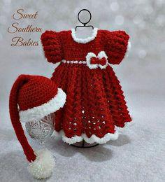 Crochet Baby Clothes, Crochet Dress Girl, Baby Girl Crochet, Crochet For Kids, Crochet Dresses, White Christmas Dress, Baby Christmas Dresses, Santa Hat, Baby Dress Patterns