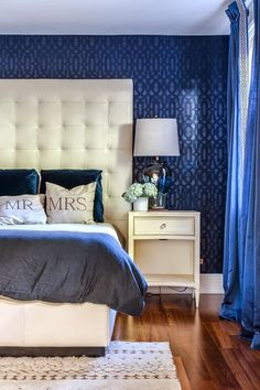 Interior decoration by Valorie Hart, photo by Sara Essex Bradley Decor, Blue Decor, Home, Blue Bedroom Decor, Bedroom Inspirations, Interior Design Living Room, Dream Master Bedroom, Interior Design, Master Bedrooms Decor
