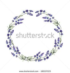 Watercolor lavender wreath. Cute hand drawn wedding invitation template. - stock photo