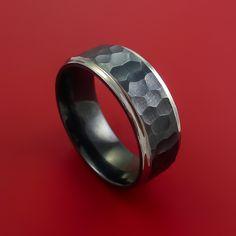 Black Zirconium Rock Hammer Finish Ring Custom Made Band