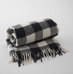 Schoolhouse Electric | Faribault Wollen Mill Buffalo Plaid Fringed Throw | Made in USA