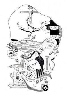 Ilustración de Bran Sólo Daniel José Cabrera Castro, El dibujo, el dibujo ilustración, ilustrador, mar, ancla, ballena, faro, águilas