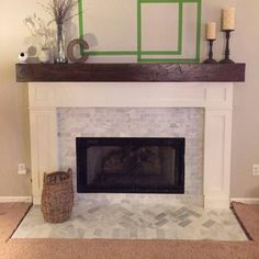 Kristin Curran added a photo of their purchase Fireplace Remodel, Wood Mantle Fireplace, Oak Fireplace, Fireplace Hearth, Wood Beams, Indoor Fireplace