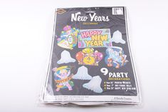 1980s New Year Window Decals New Year's Eve Party Decorations Supplies Paper Cutouts Banner Vintage Unopened The Pink Room  161029 by ThePinkRoom