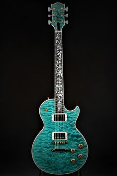 "Gibson Custom Shop Les Paul Ultima ""Tree of Life"" - Aqua Blue Bass Ukulele, Guitar Chords, Acoustic Guitar, Ukulele Tabs, Guitar Art, Gibson Les Paul, Gibson Custom Shop, Cool Electric Guitars, Les Paul Custom"